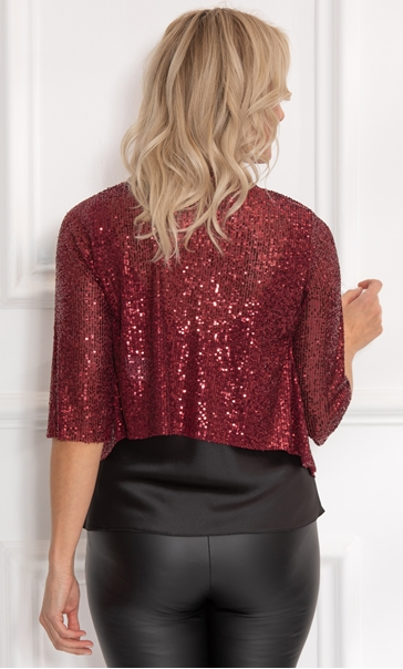 Sequin Mesh Cover Up Merlot - Gallery Image 3