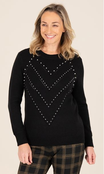 Pearl Detail Knitted Top - Black