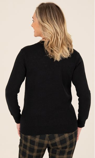 Pearl Detail Knitted Top Black - Gallery Image 3