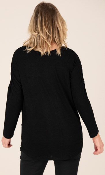 Loose Fit Diamante Top Black/Grey - Gallery Image 2