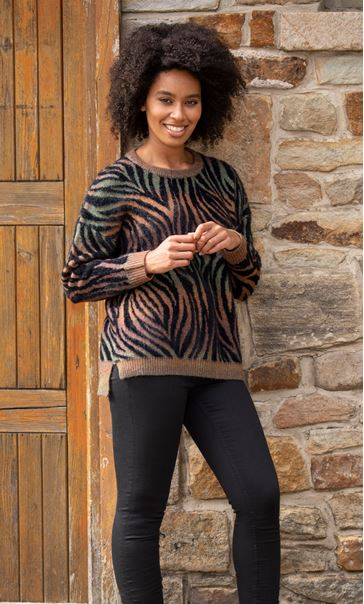 Multi Colour Animal Print Jumper Black/Multi