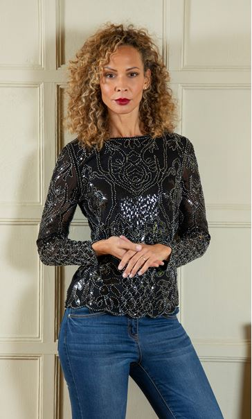 Long Sleeve Embellished Top - Black