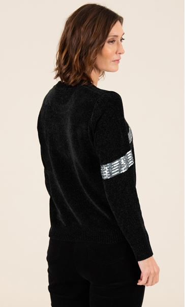 Chenille Bow Print Jumper - Black