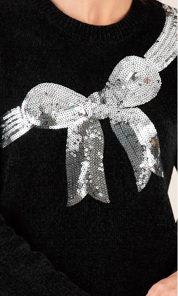 Chenille Bow Print Jumper Black - Gallery Image 3