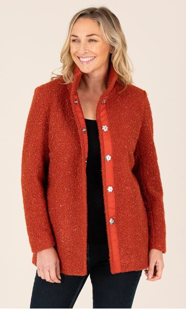 Sparkle Textured Jacket - Burnt Orange Suede