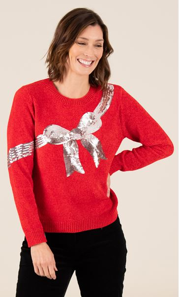 Chenille Bow Print Jumper - Red