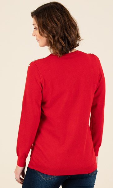 Embellished Knitted Top - Red