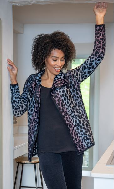 Wrap Front Feather Cardigan Black/Multi