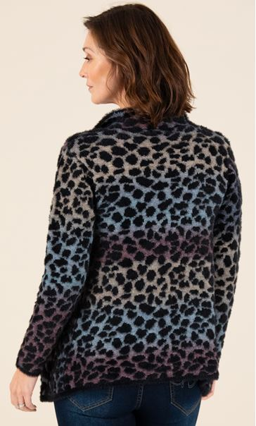 Wrap Front Feather Cardigan Black/Multi - Gallery Image 3