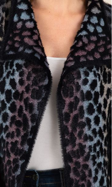 Wrap Front Feather Cardigan Black/Multi - Gallery Image 4