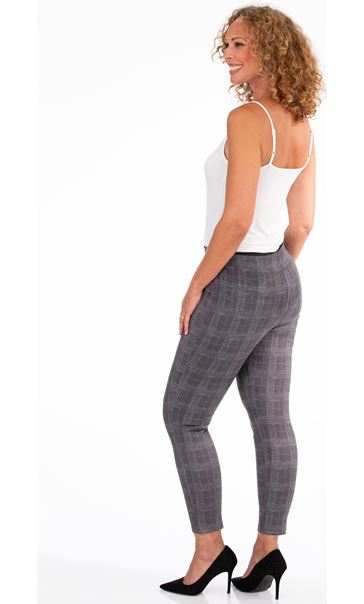 Check Suedette Trousers Grey - Gallery Image 3