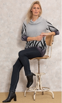 Cowl Neck Printed Tunic