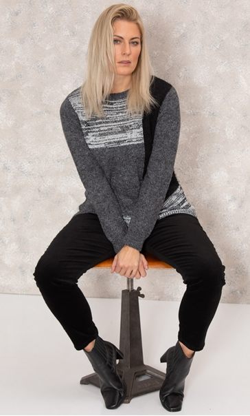Patchwork Lightweight Jumper - Black/Violet