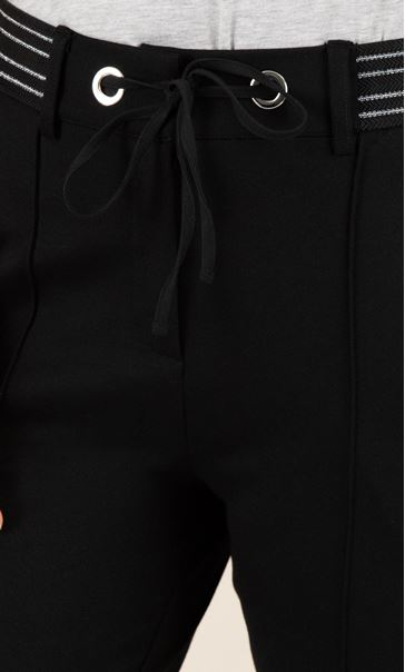 Ponte Ribbed Insert Trousers Black - Gallery Image 3