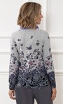 Anna Rose Printed Brushed Top With Scarf Grey/Soft Pink - Gallery Image 2