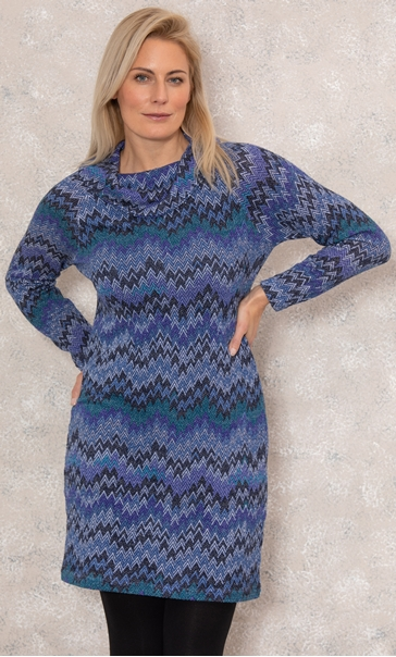 Chevron Print Cowl Neck Dress Violet - Gallery Image 2