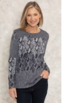Anna Rose Knitted Jacquard Top Black/Grey - Gallery Image 1