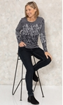 Anna Rose Knitted Jacquard Top Black/Grey - Gallery Image 2