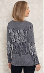 Anna Rose Knitted Jacquard Top Black/Grey - Gallery Image 3