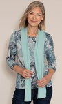 Anna Rose Printed Brushed Top With Scarf Grey/Aqua - Gallery Image 1