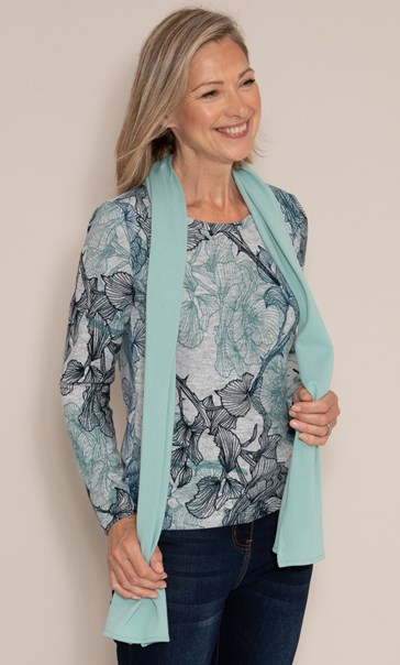 Anna Rose Printed Brushed Top With Scarf Grey/Aqua - Gallery Image 3