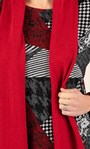Anna Rose Printed Brushed Top With Scarf Black/Red - Gallery Image 3