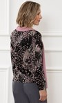 Anna Rose Printed Brushed Top With Scarf Black/Dusty Pink/Grey - Gallery Image 2