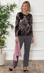 Anna Rose Printed Brushed Top With Scarf Black/Dusty Pink/Grey - Gallery Image 3