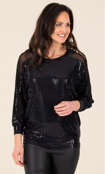 Sequin and Mesh Top