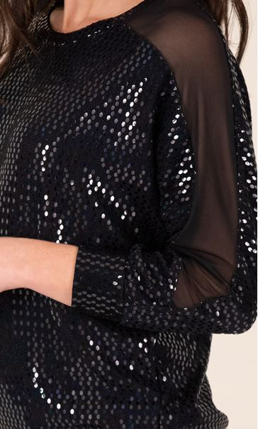 Sequin and Mesh Top Black - Gallery Image 3