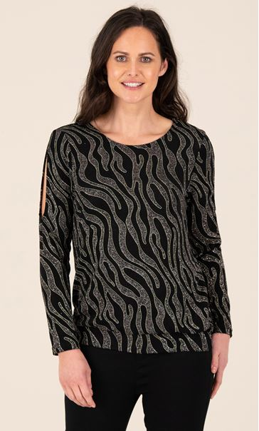 Printed Sparkle Split Sleeve Top