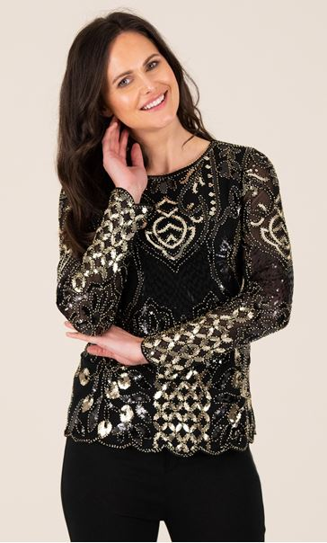 Long Sleeve Embellished Top - Black/Gold