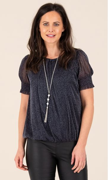 Glitter Mesh Bubble Hem Top