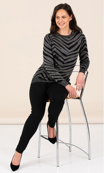 Long Sleeve Lurex Zebra Knit Top