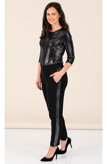 Crepe Trousers With Sparkle Stripe