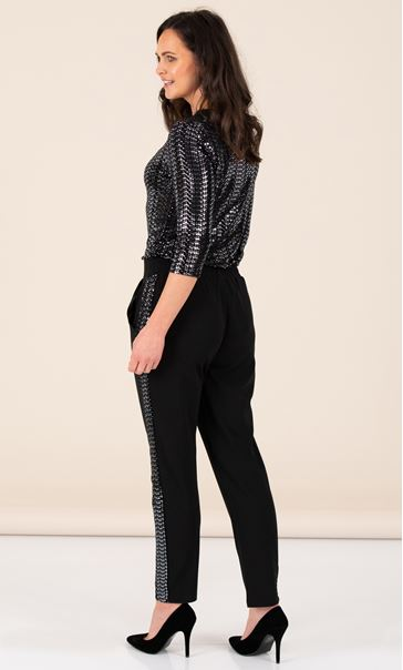 Crepe Trousers With Sparkle Stripe Black/Silver - Gallery Image 2