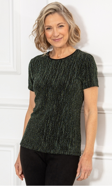 Anna Rose Textured Jersey Short Sleeve Top