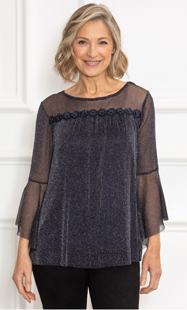 Anna Rose Glitter Knit Bell Sleeve Top