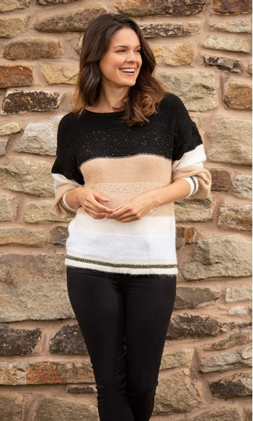 Sequin Stripe Knit Jumper