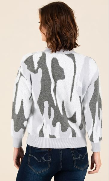 Soft Knit Camouflage Jumper Grey - Gallery Image 3