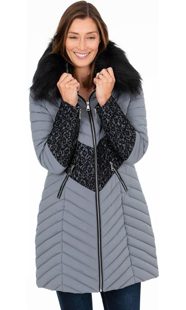 Lace Trim Faux Fur Coat
