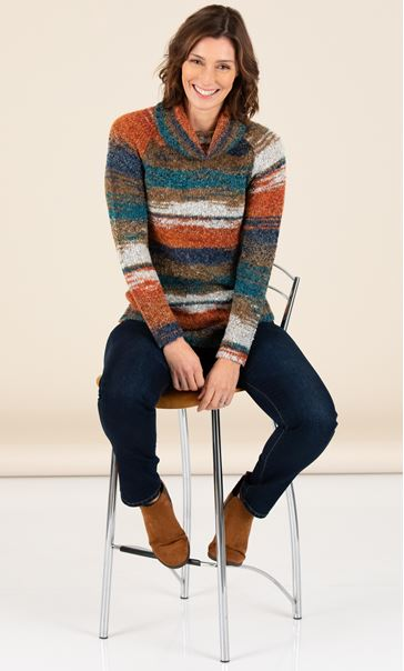 Polar Neck Stripe Jumper - Teal/Brown