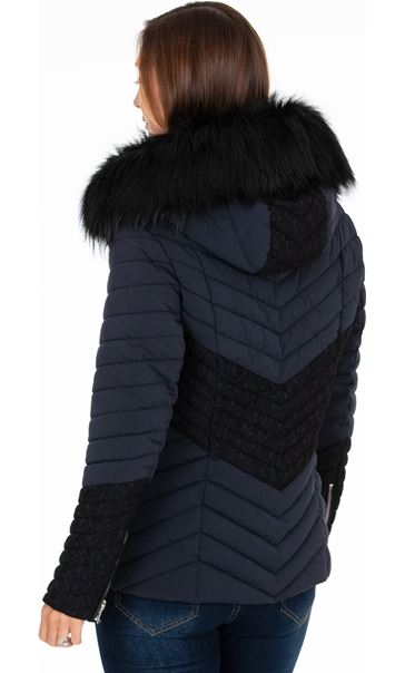 Faux Fur Padded Coat Midnight - Gallery Image 3