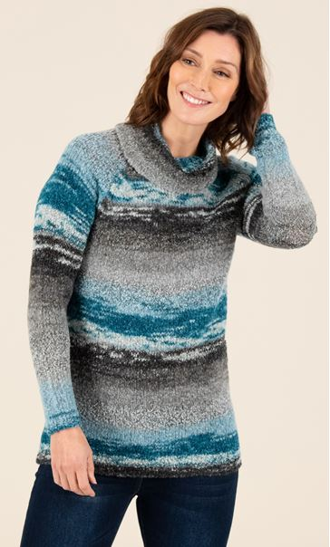 Stripe Polar Neck Jumper Grey/Teal