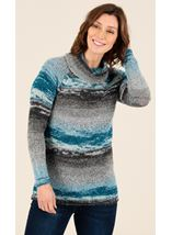 Stripe Polar Neck Jumper
