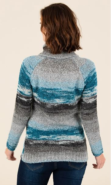 Stripe Polar Neck Jumper Grey/Teal - Gallery Image 2