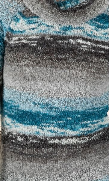 Stripe Polar Neck Jumper Grey/Teal - Gallery Image 3