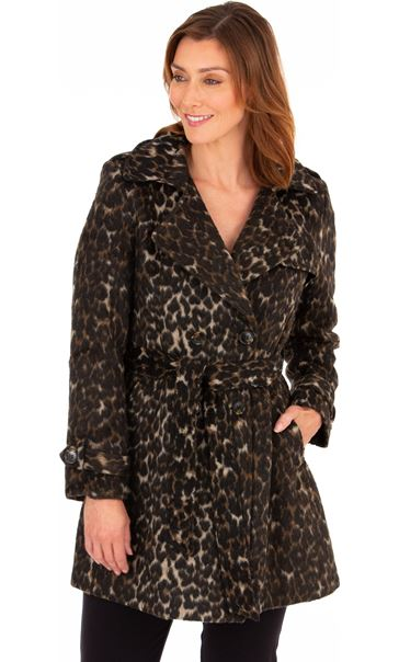 Double Breasted Leopard Print Coat Leopard - Gallery Image 2
