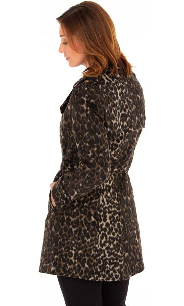 Double Breasted Leopard Print Coat Leopard - Gallery Image 3