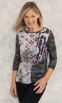 Anna Rose Patchwork Print Jersey Top Hessian - Gallery Image 1